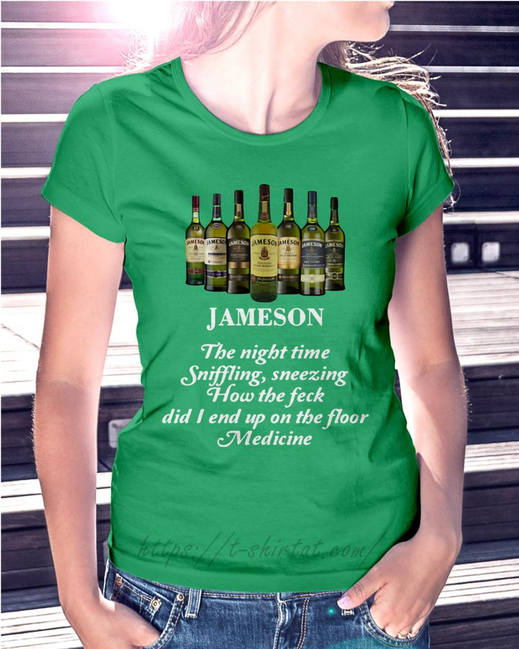 Jameson the night time sniffling sneezing how the feck Ladies Tee green