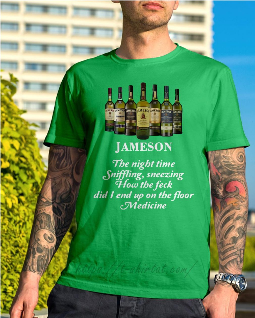 Jameson the night time sniffling sneezing how the feck Shirt green