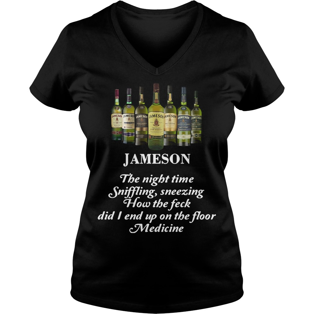 Jameson the night time sniffling sneezing how the feck V-neck T-shirt