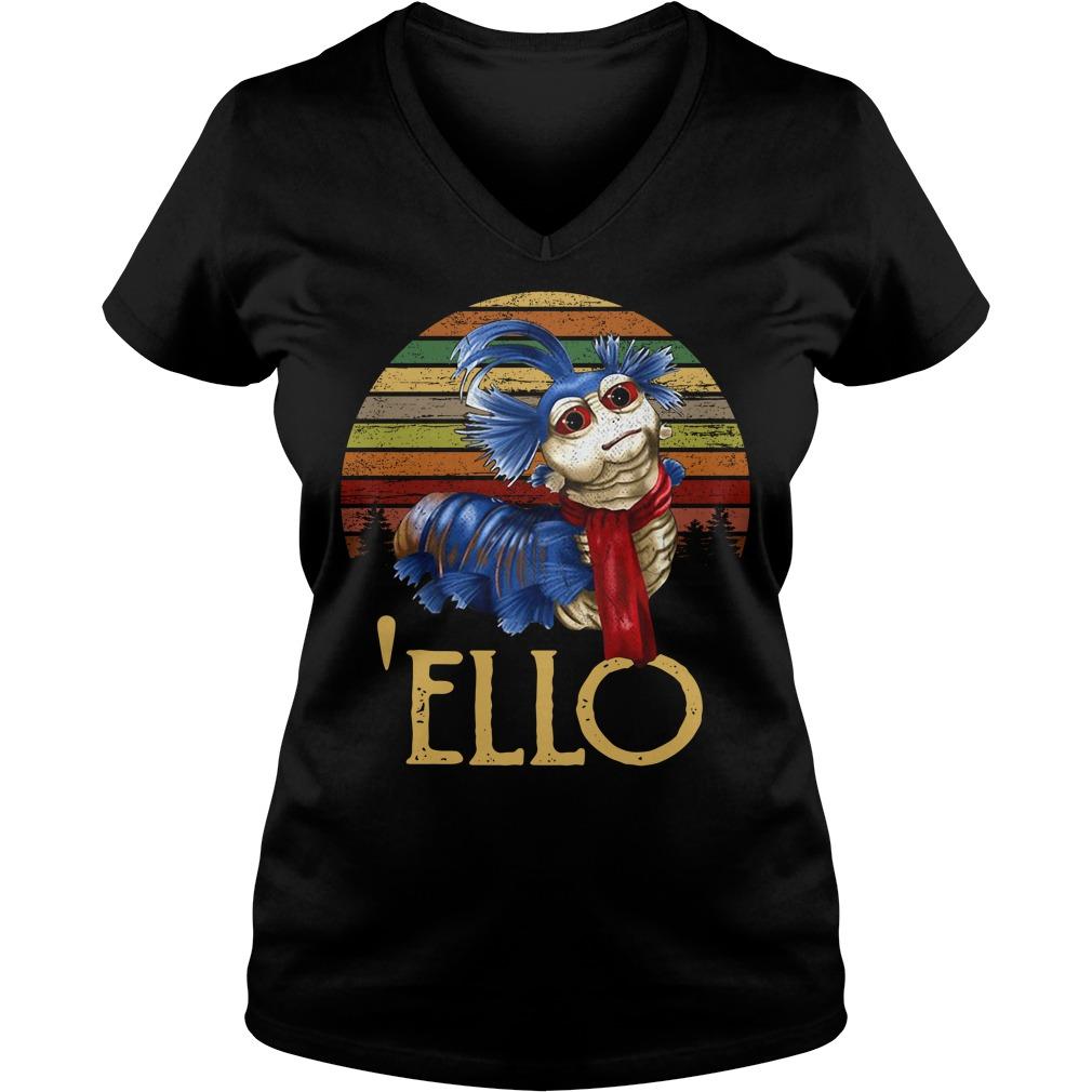 Labyrinth Ello worm vintage V-neck T-shirt
