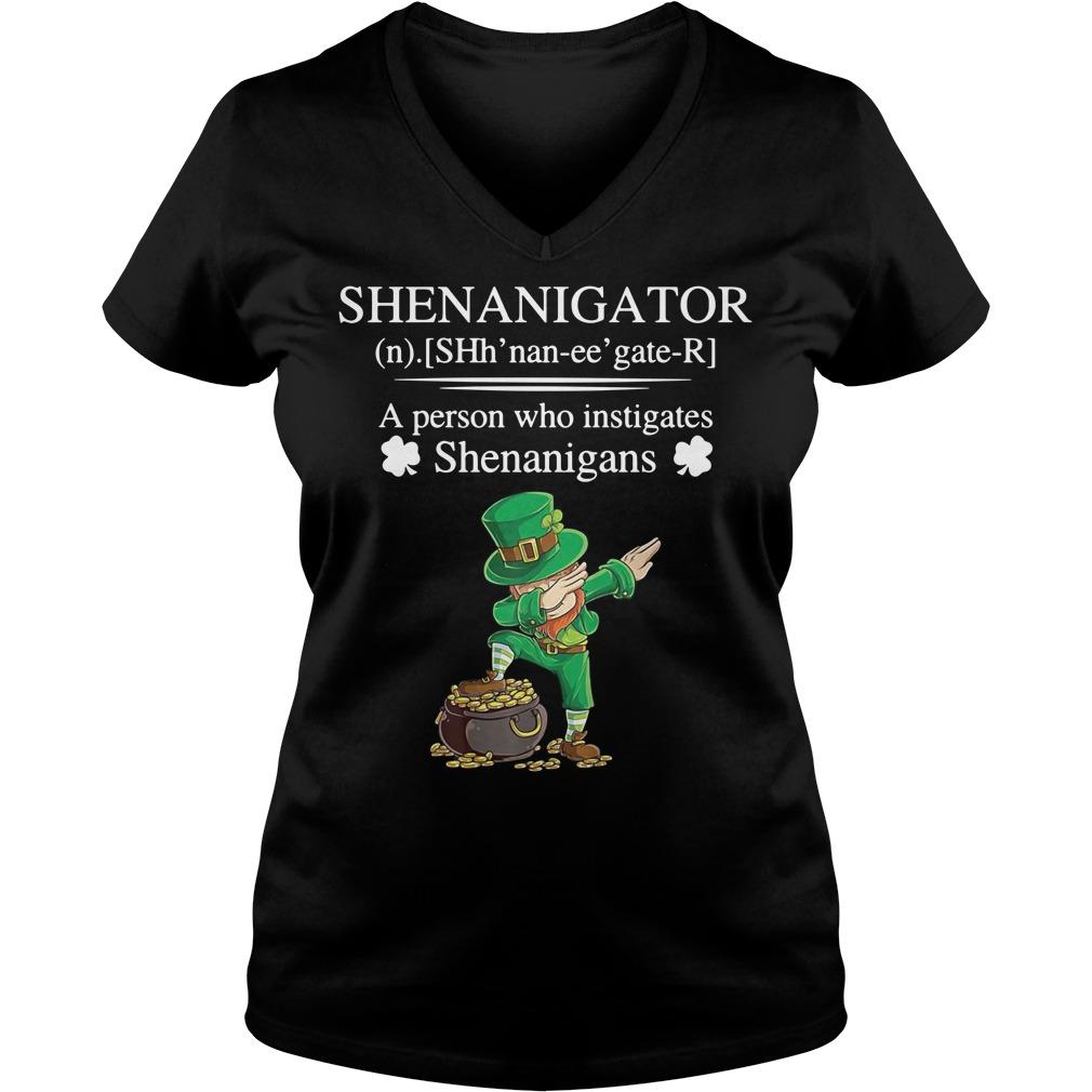 Leprechaun dabbing Shenanigator definition a person who instigates V-neck T-shirt