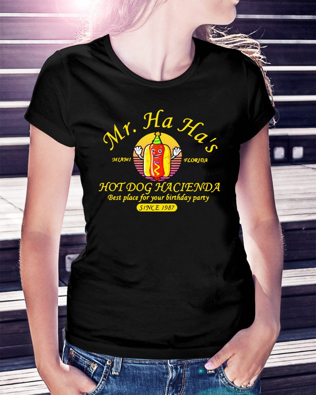 Miami Florida Mr. Ha Ha's hot dog Hacienda best place for your Ladies Tee