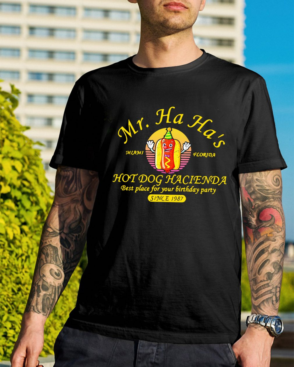 Miami Florida Mr. Ha Ha's hot dog Hacienda best place for your shirt