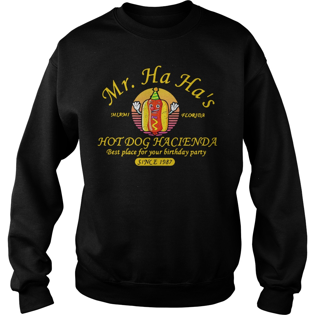 Miami Florida Mr. Ha Ha's hot dog Hacienda best place for your Sweater