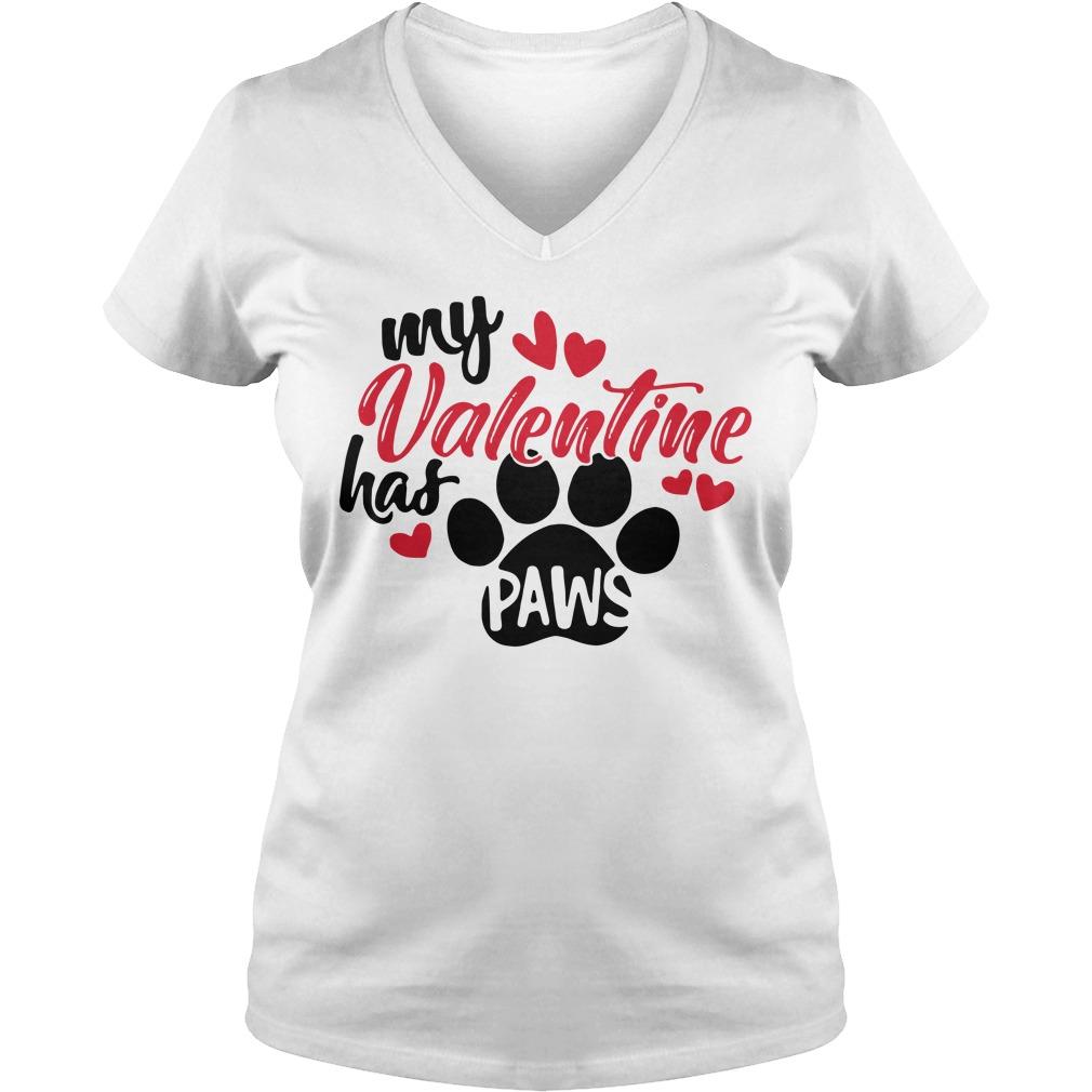 My Valentine has paws V-neck T-shirt