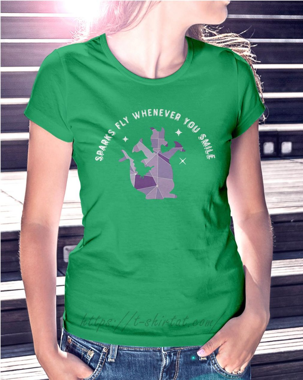 Saurus sparks fly whenever you smile Ladies Tee green