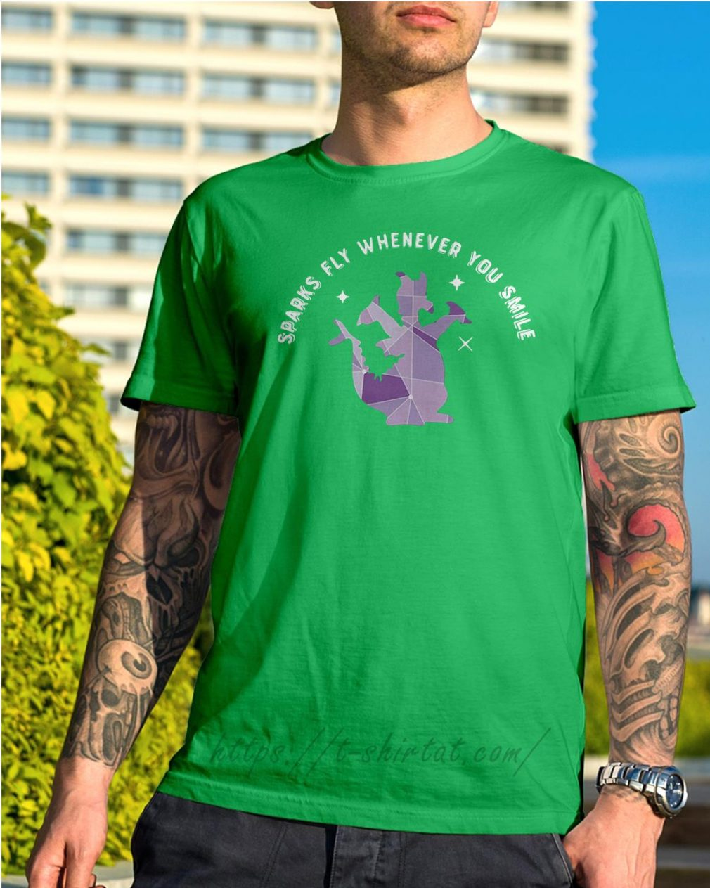 Saurus sparks fly whenever you smile Shirt Green