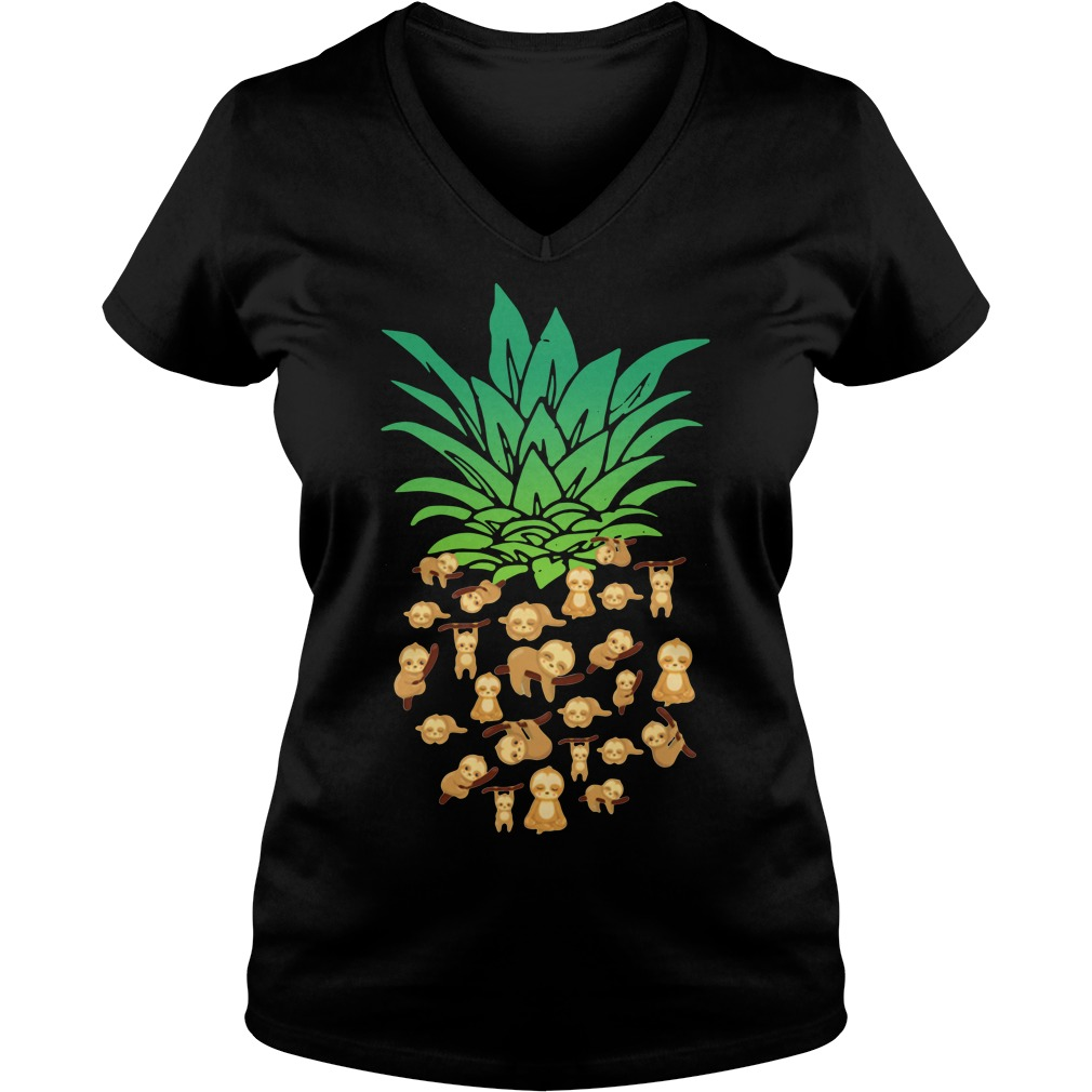 Sloths pineapple V-neck T-shirt