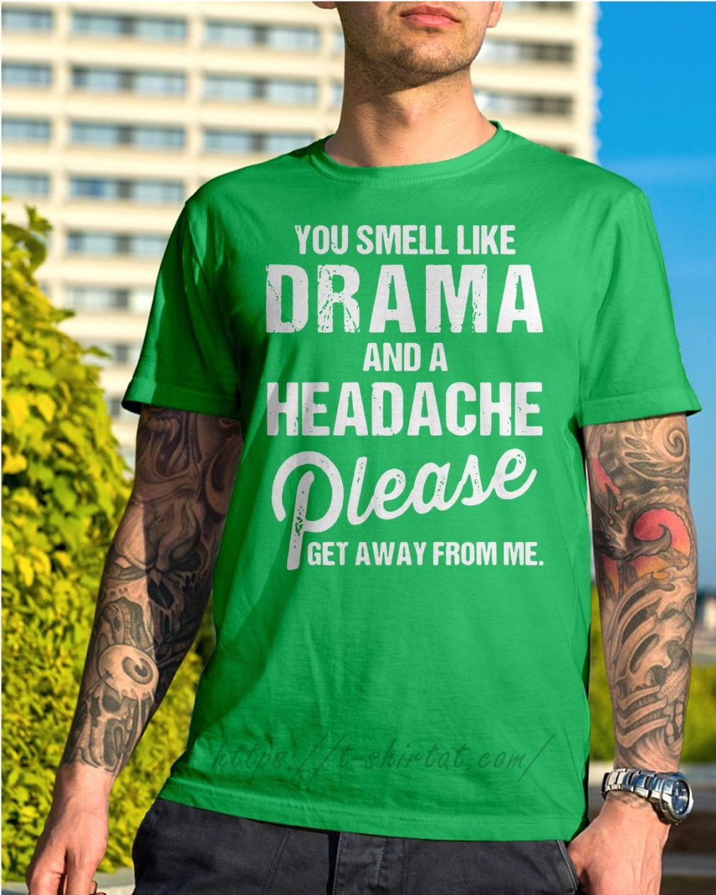 You smell like drama and a headache please get away from me Shirt green