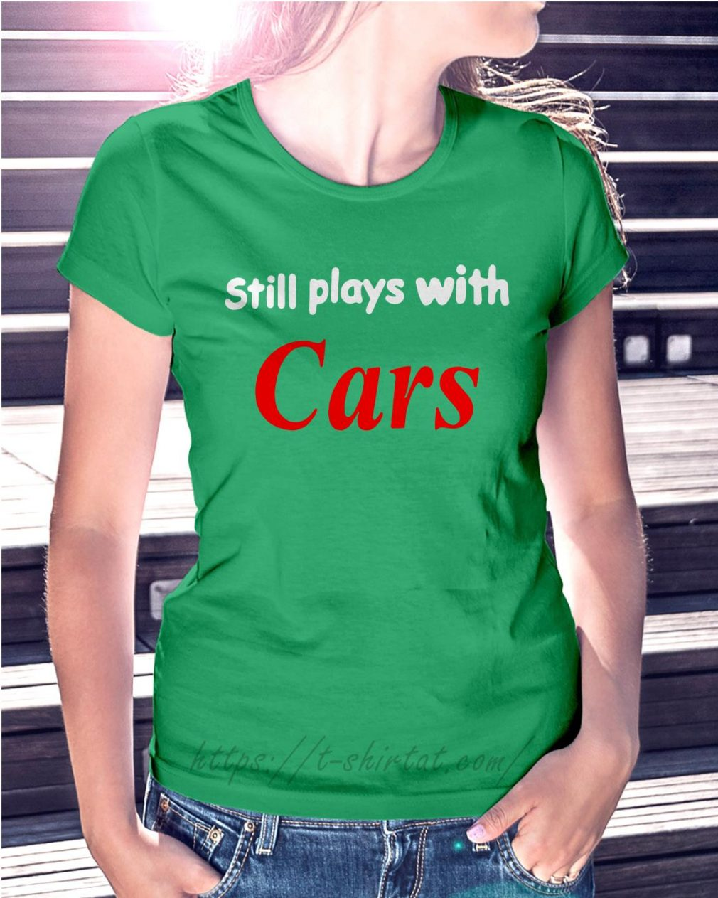 Still plays with cars Ladies tee green