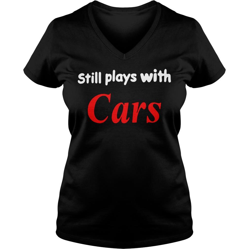 Still plays with cars V-neck T-shirt