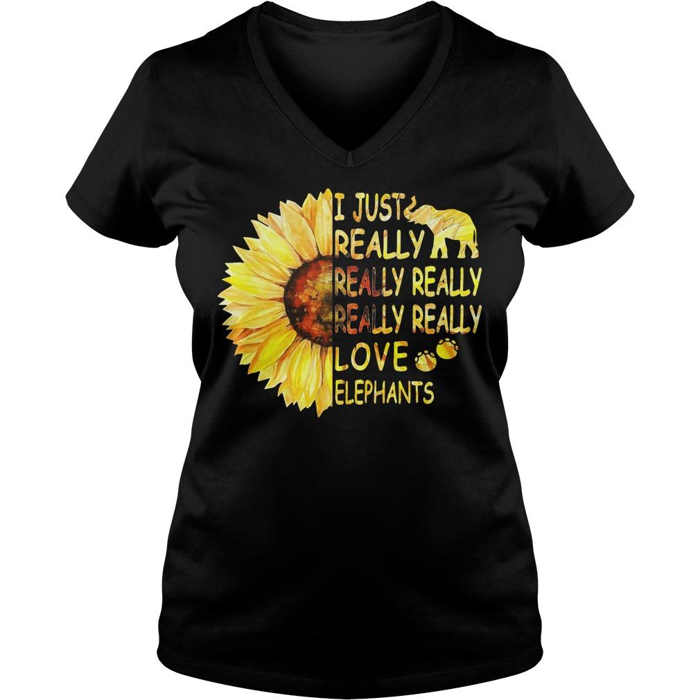 Sunflower I just really really really really really love elephants V-neck T-shirt