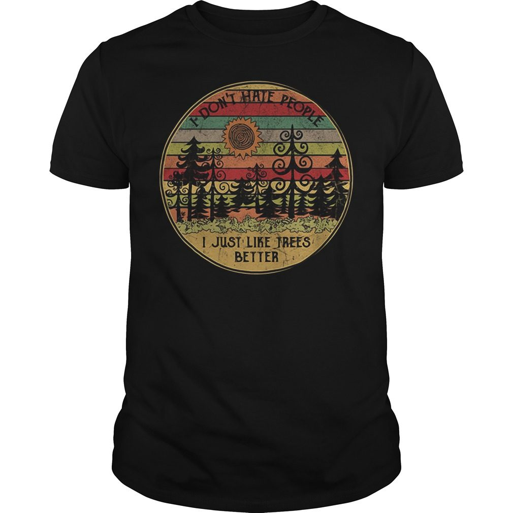 Sunset I don't hate people I just like trees better vintage shirt