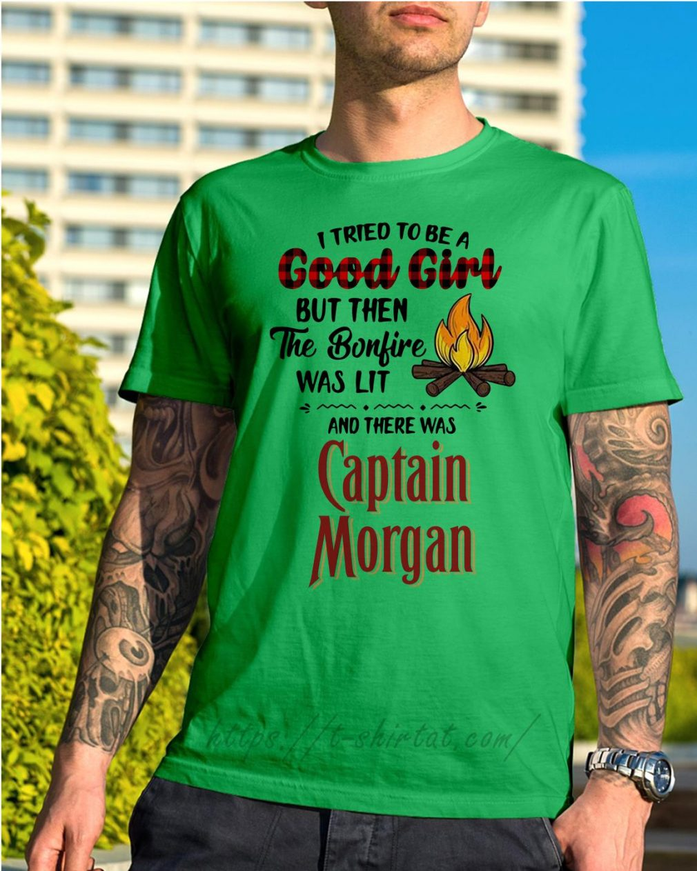 The bonfire was lit and there was Captain Morgan Shirt green