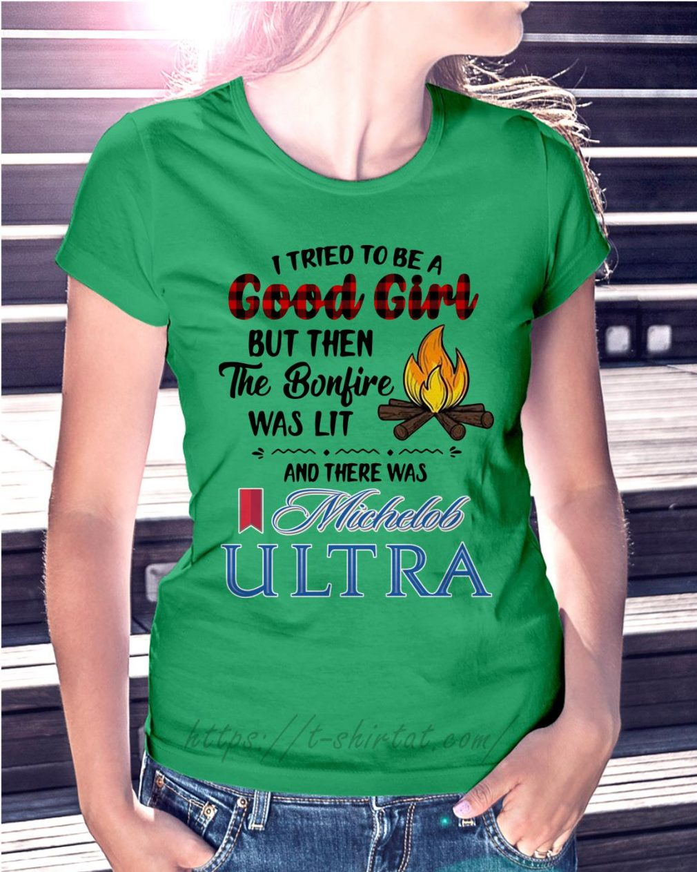 The bonfire was lit and there was Michelob Ultra Ladies Tee green