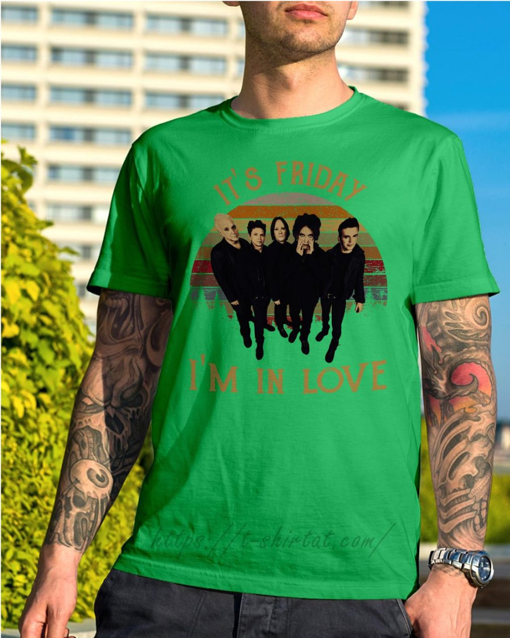 The Cure it's Friday I'm in love vintage Shirt green