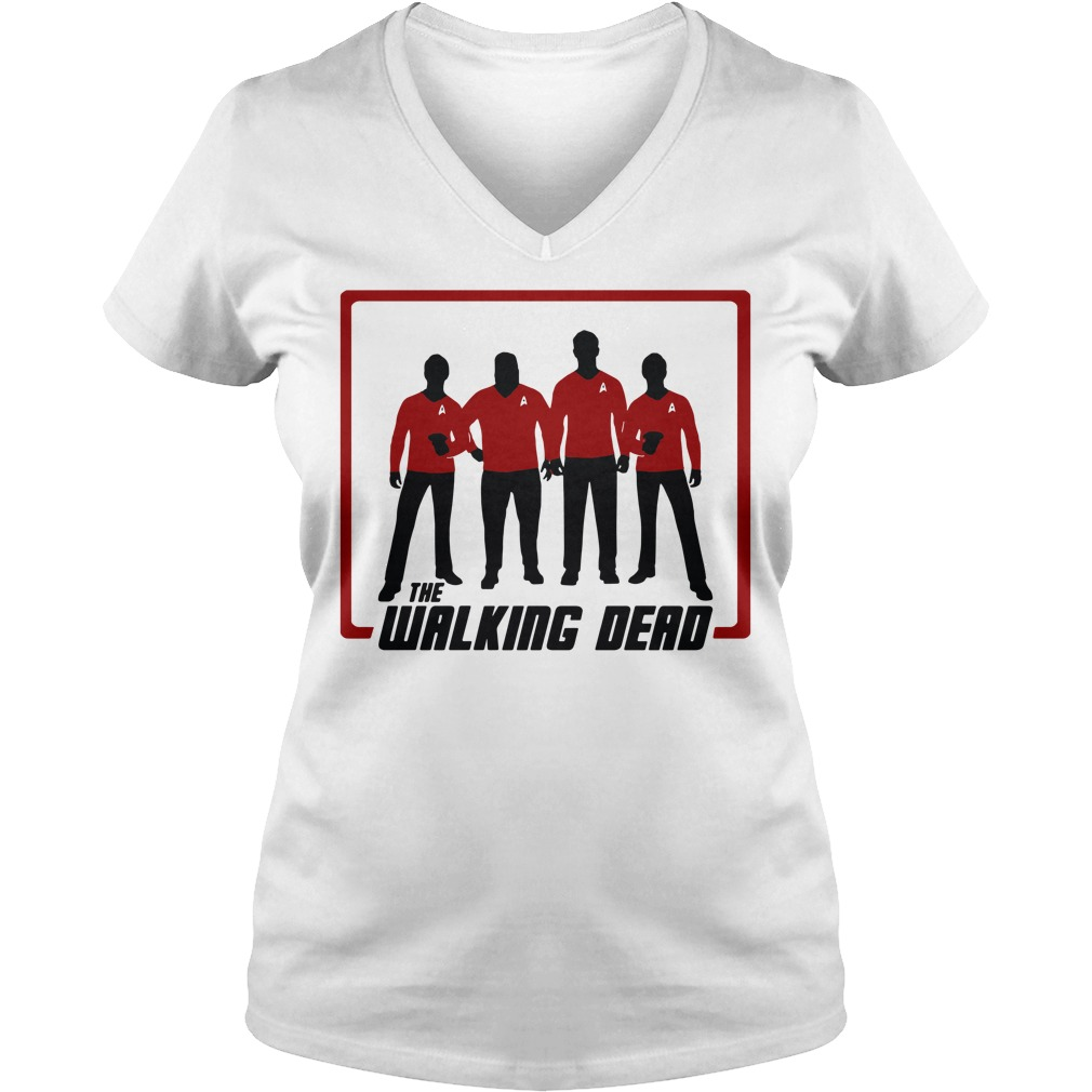 The Walking Dead four characters V-neck T-shirt