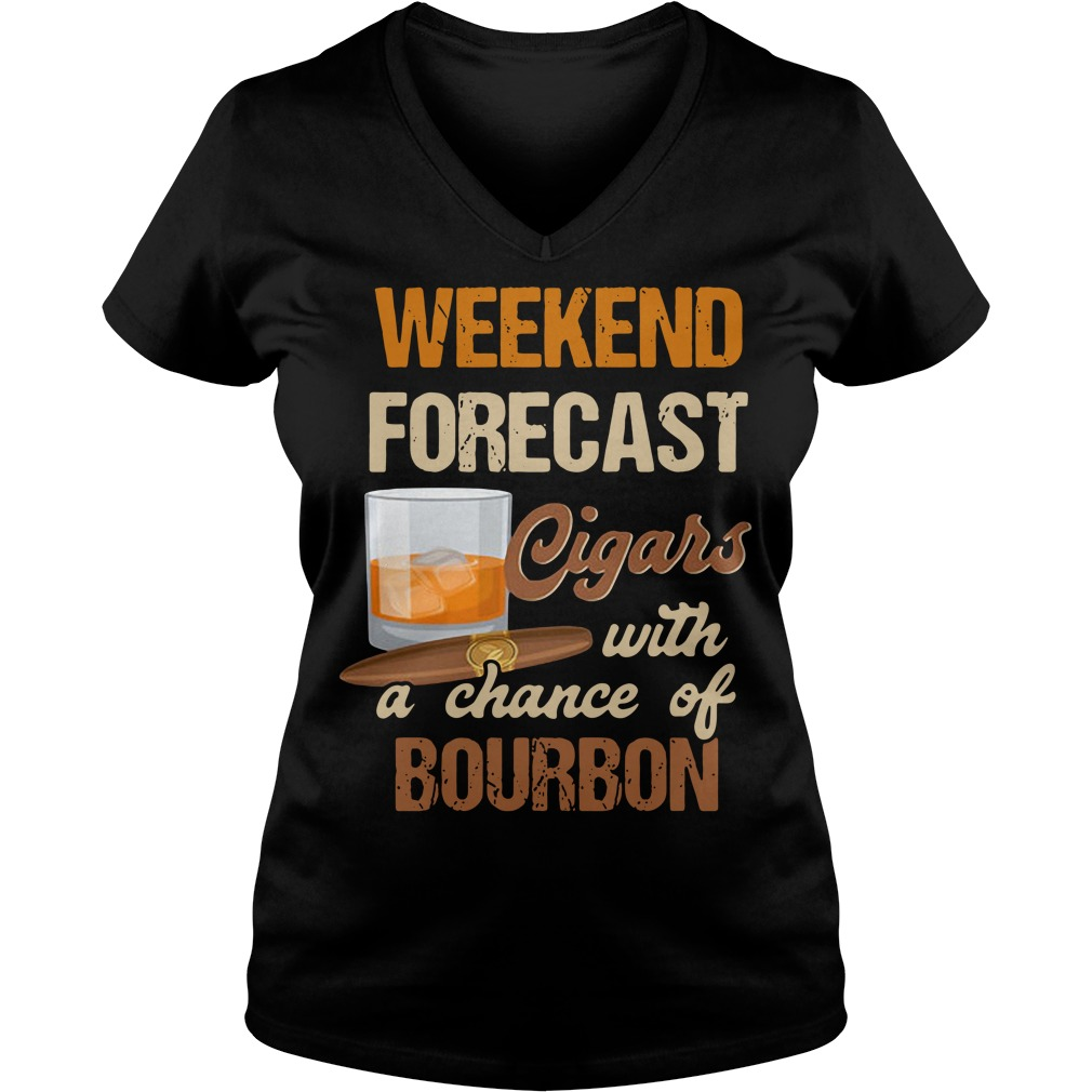 Weekend forecast Cigars with a chance of Bourbon V-neck T-shirt