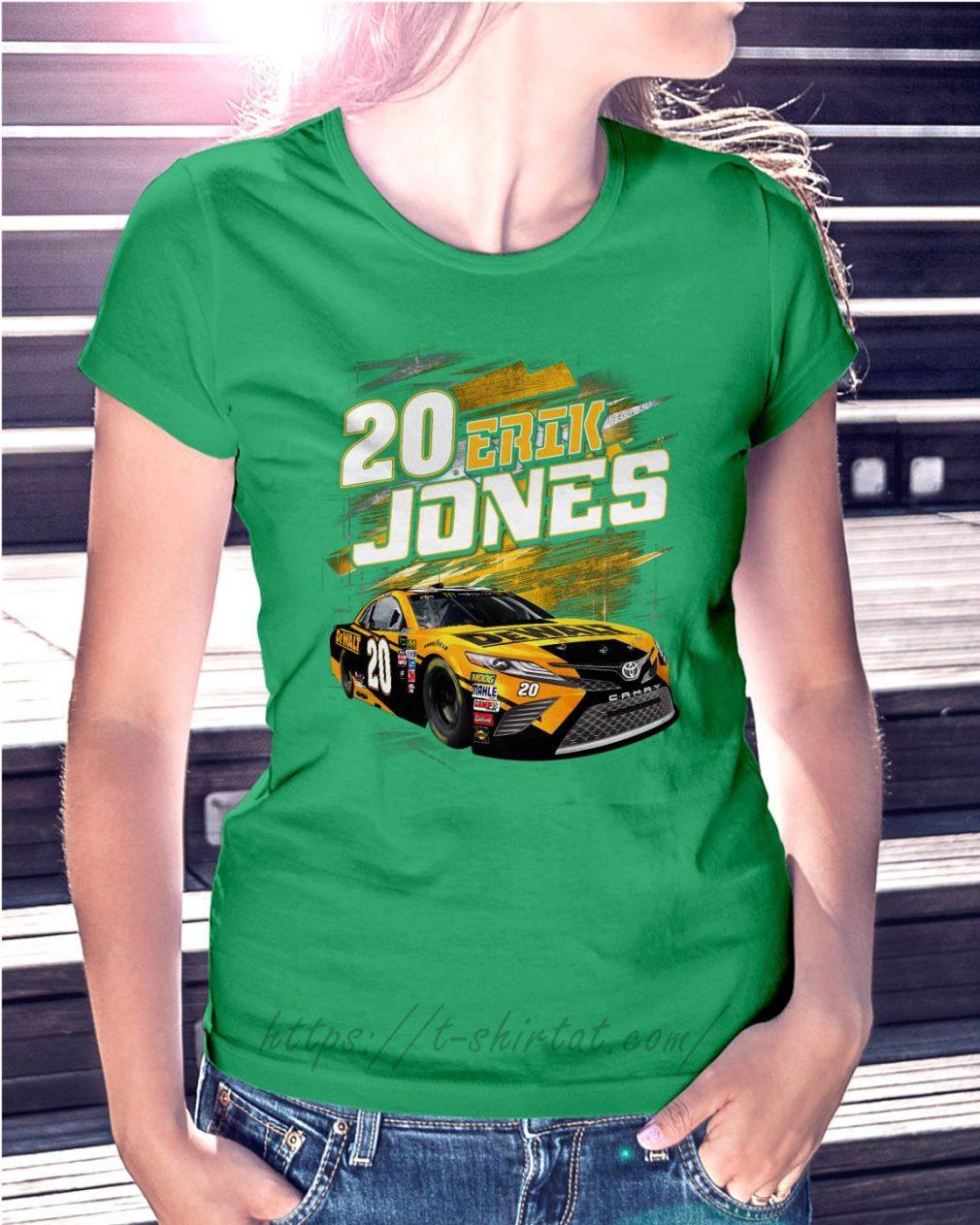 20 Erik Jones Black Dewalt power car Ladies Tee green