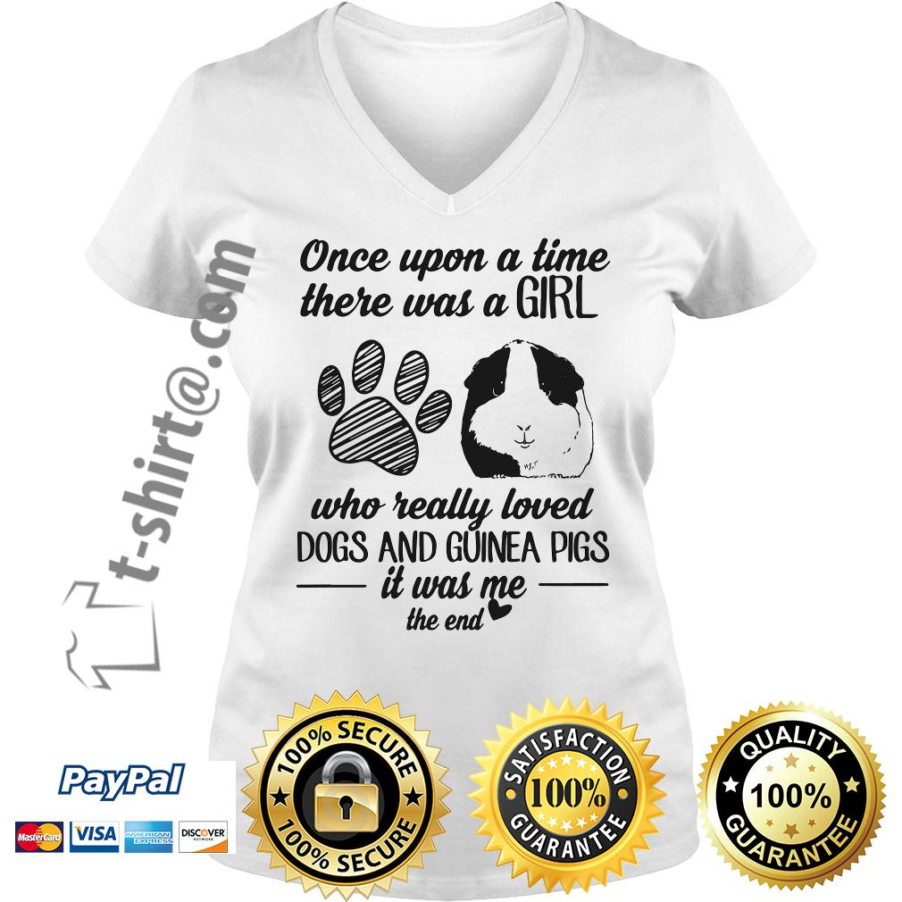 A time there was a girl who really loves dogs and guinea pigs V-neck T-shirt