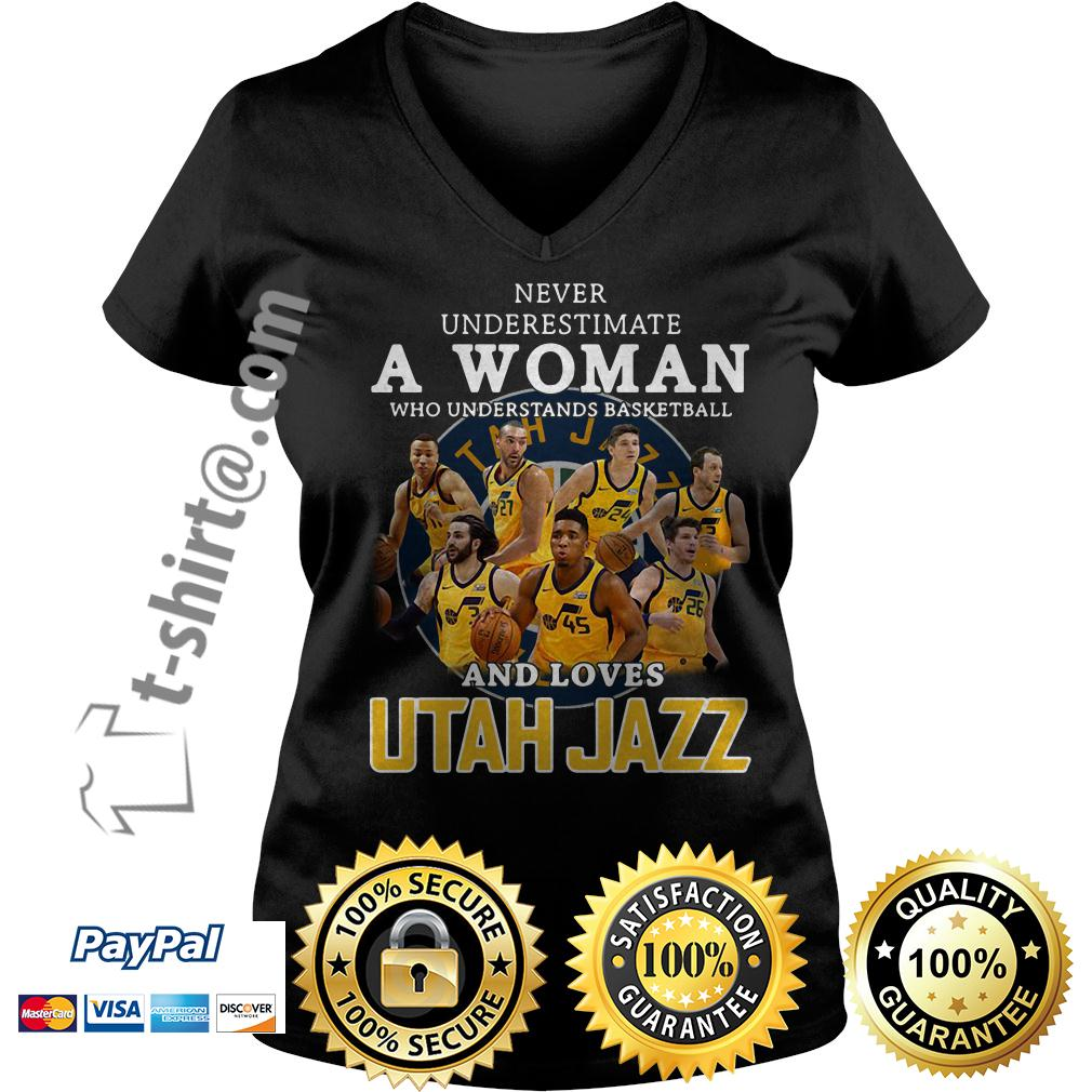 A woman who understands baseball and loves Utah Jazz V-neck T-shirt