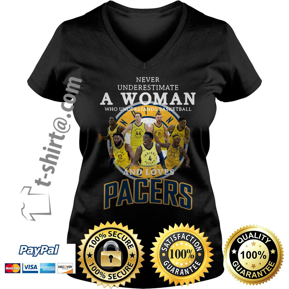 A woman who understands basketball and loves Pacers V-neck T-shirt