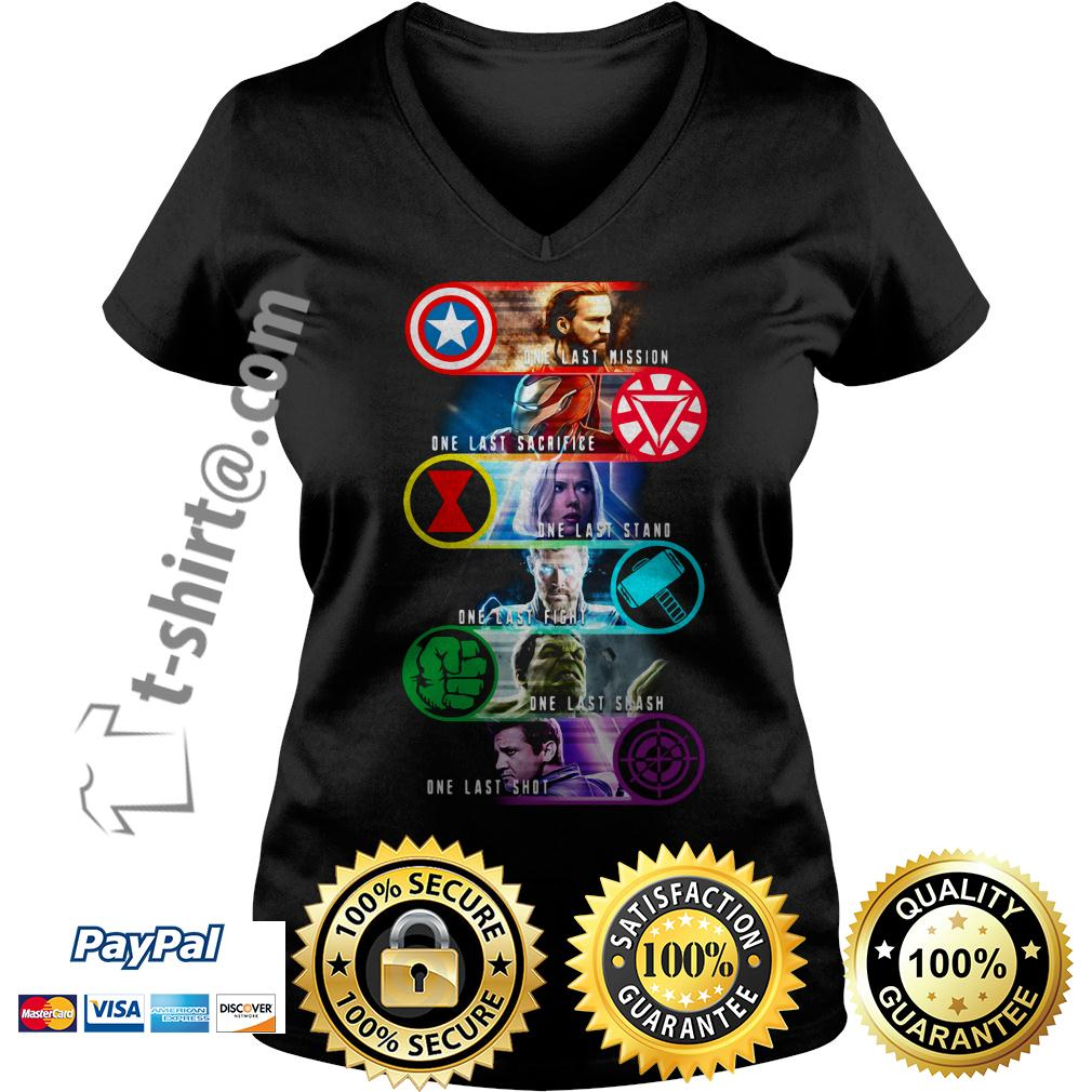 Avengers last mission one last sacrifice one last stand one east fight V-neck T-shirt