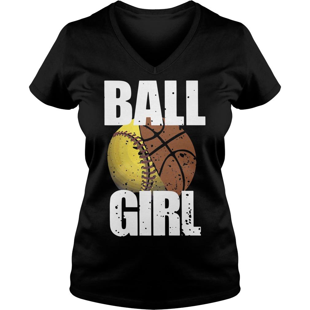 Baseball ball girl V-neck T-shirt
