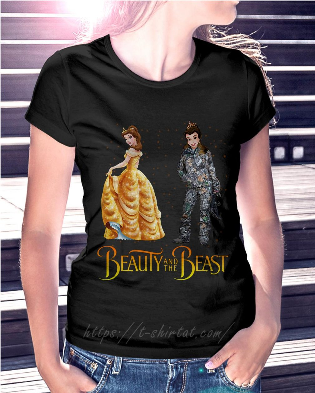 Bella Beauty and the Beast astronaut Ladies Tee