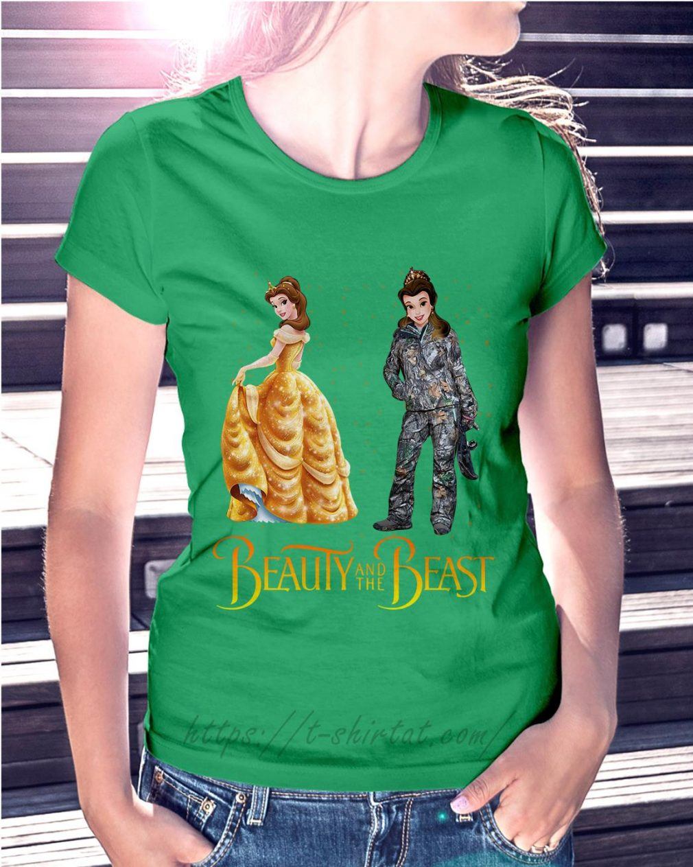 Bella Beauty and the Beast astronaut Bella Beauty and the Beast astronaut Ladies Tee green