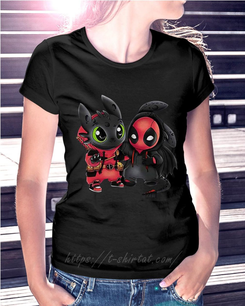 Best friend Toothless and Deadpool Ladies Tee