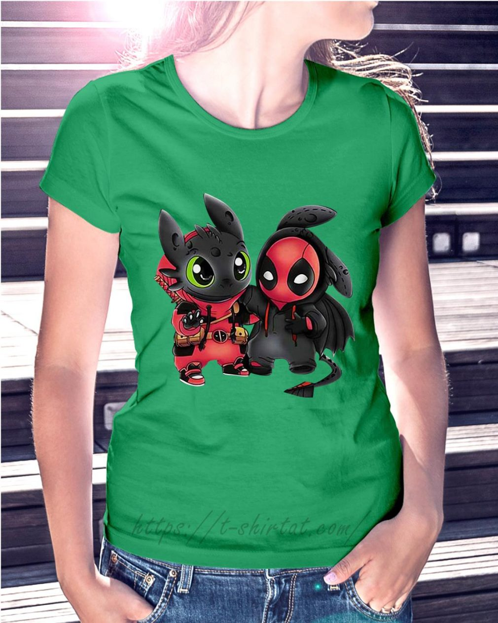Best friend Toothless and Deadpool Ladies Tee