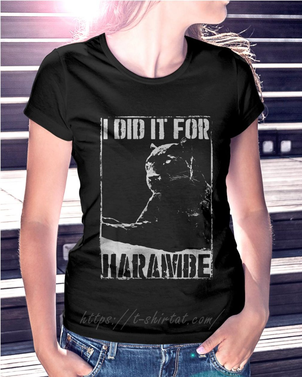 Black Panther I did it for Harambe Ladies Tee