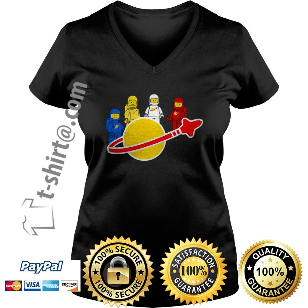Blue yellow white and red Lego spaceman V-neck T-shirt