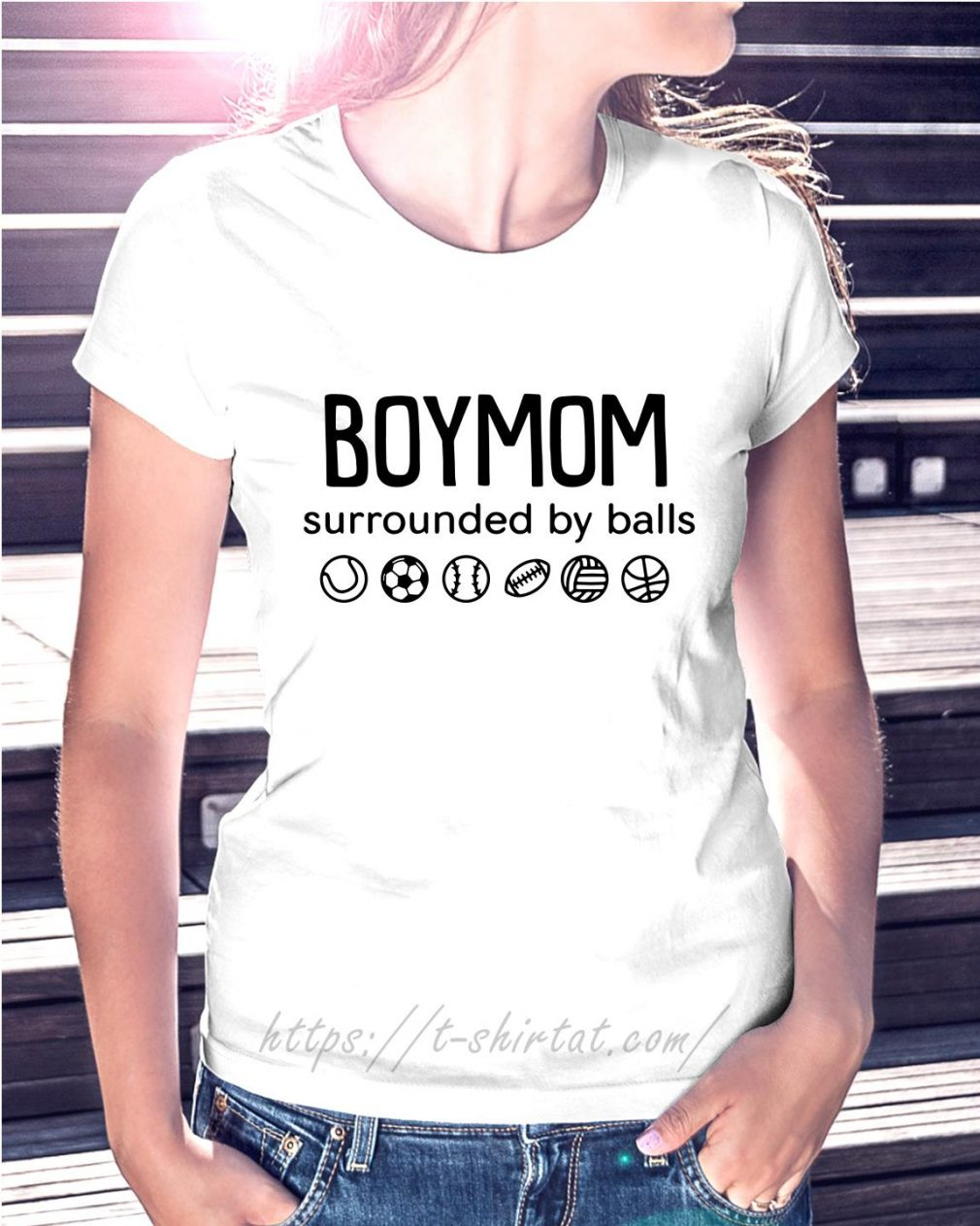 Boy mom surrounded by balls Ladies Tee