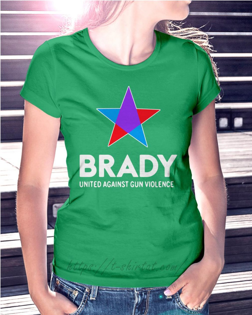Brady united against gun violence take action not sides Ladies Tee green