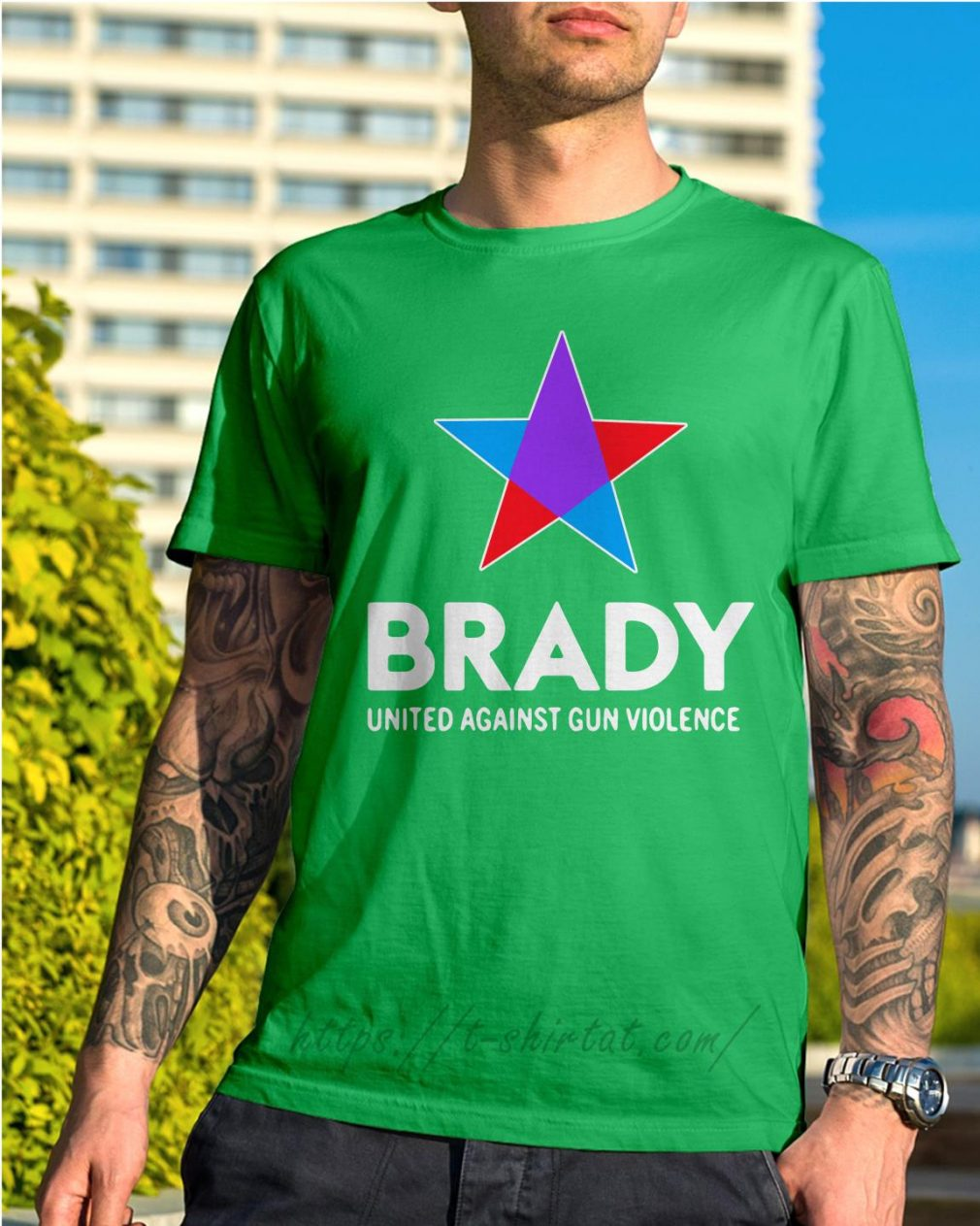 Brady united against gun violence take action not sides Shirt green