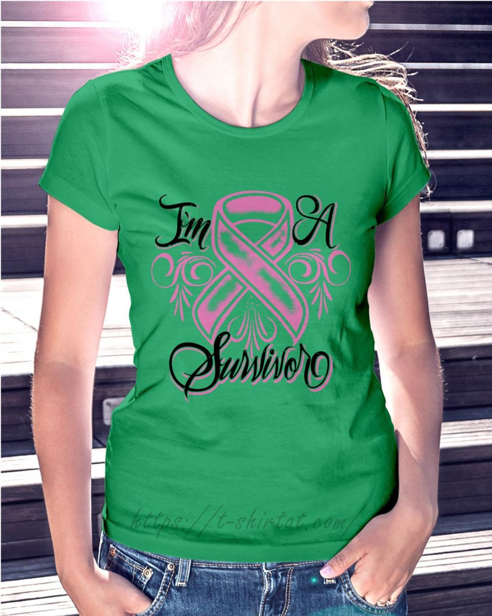 Breast cancer I'm a Survivor Ladies Tee green