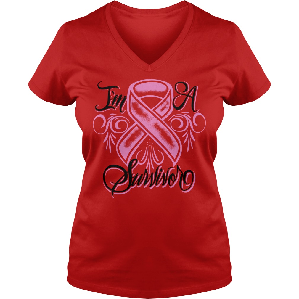 Breast cancer I'm a Survivor V-neck T-shirt