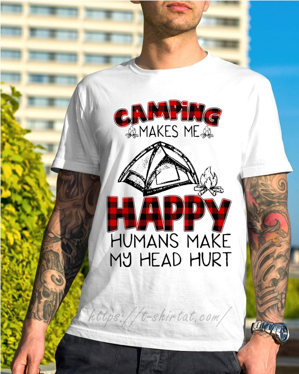 Camping makes me happy humans make my head hurt shirt