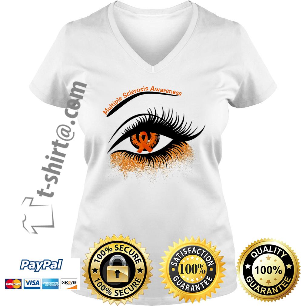 Cancer multiple sclerosis awareness in the eye V-neck T-shirt