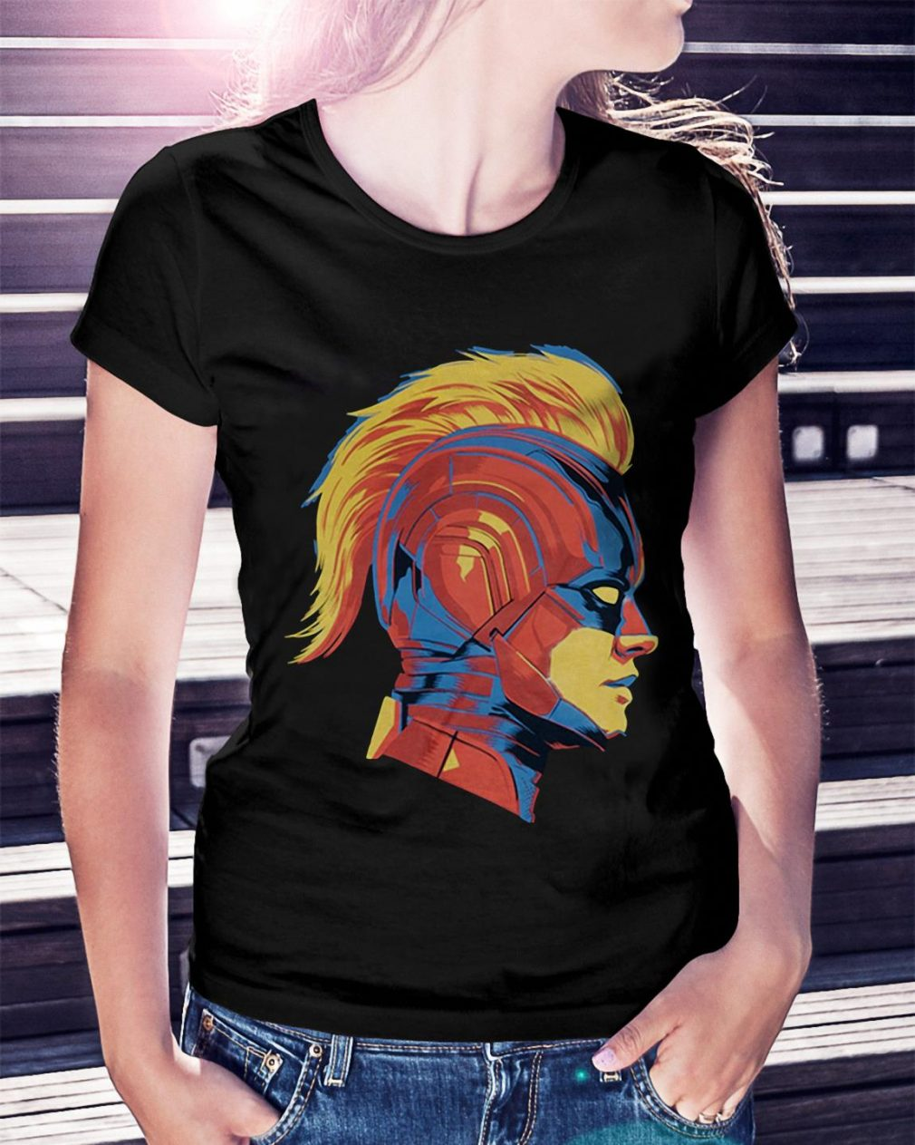 Captain Marvel Carol Danvers face Ladies Tee