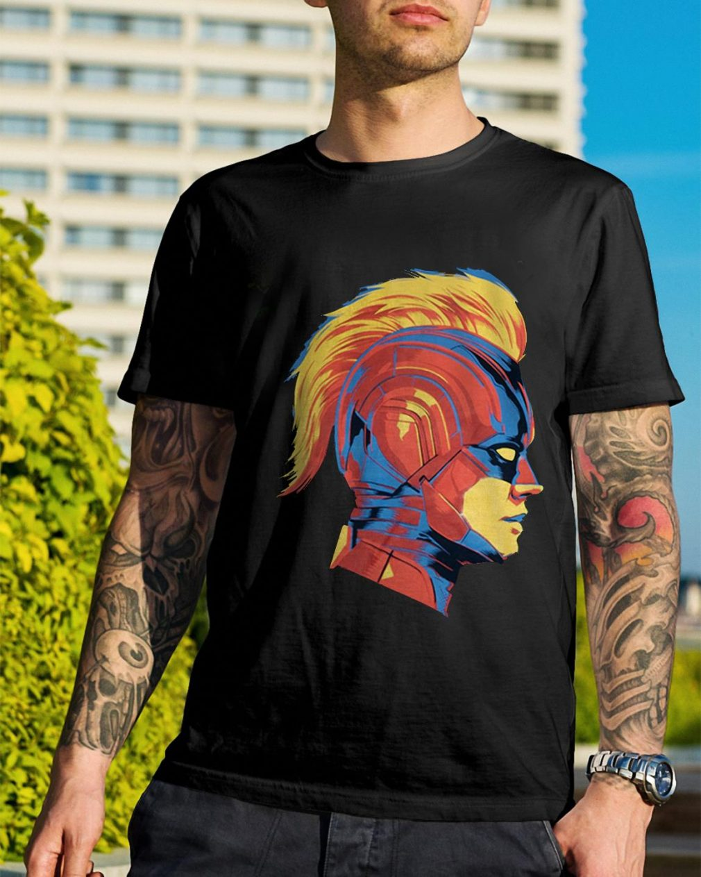 Captain Marvel Carol Danvers face shirt