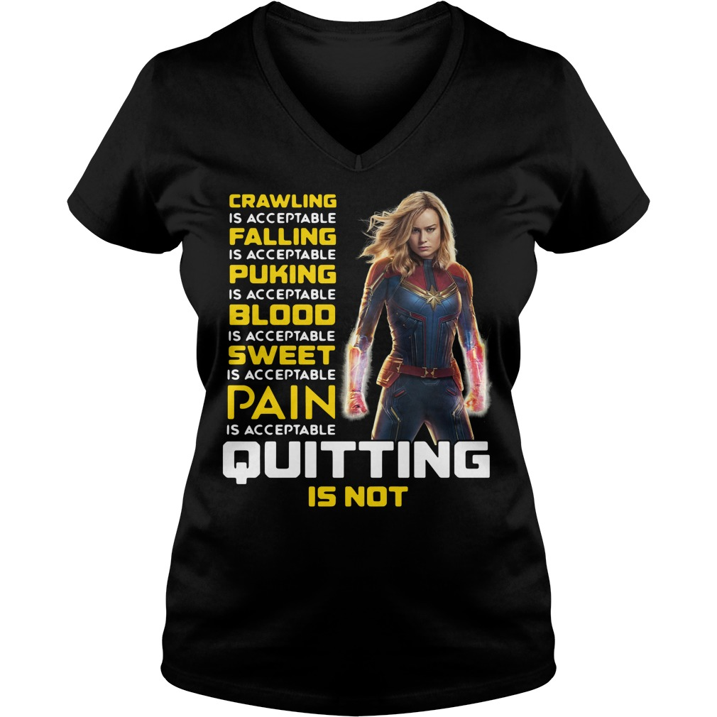 Carol Danvers crawling is acceptable falling is acceptable puking V-neck T-shirt