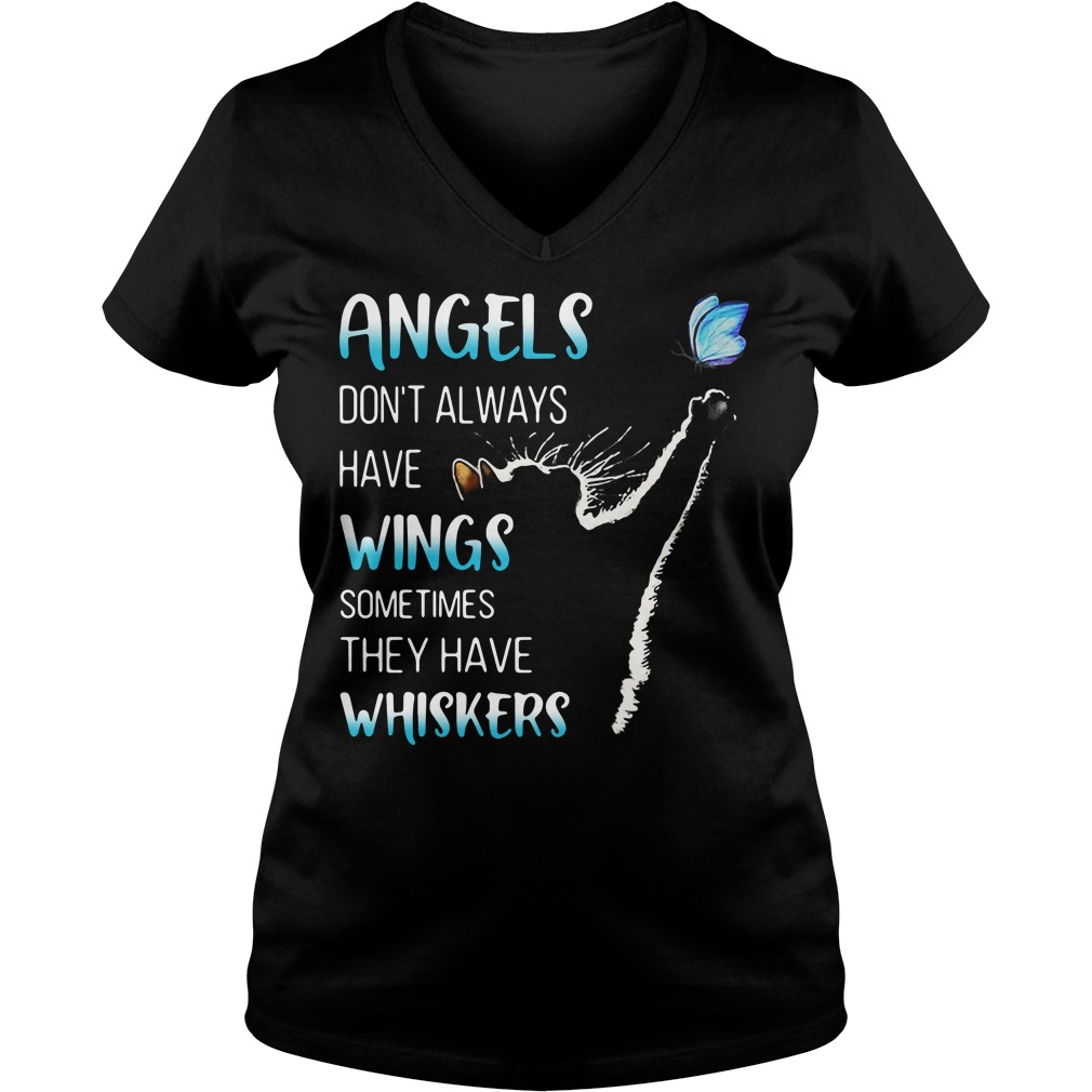 Cat catching butterfly angels don't always have wings sometimes V-neck T-shirt