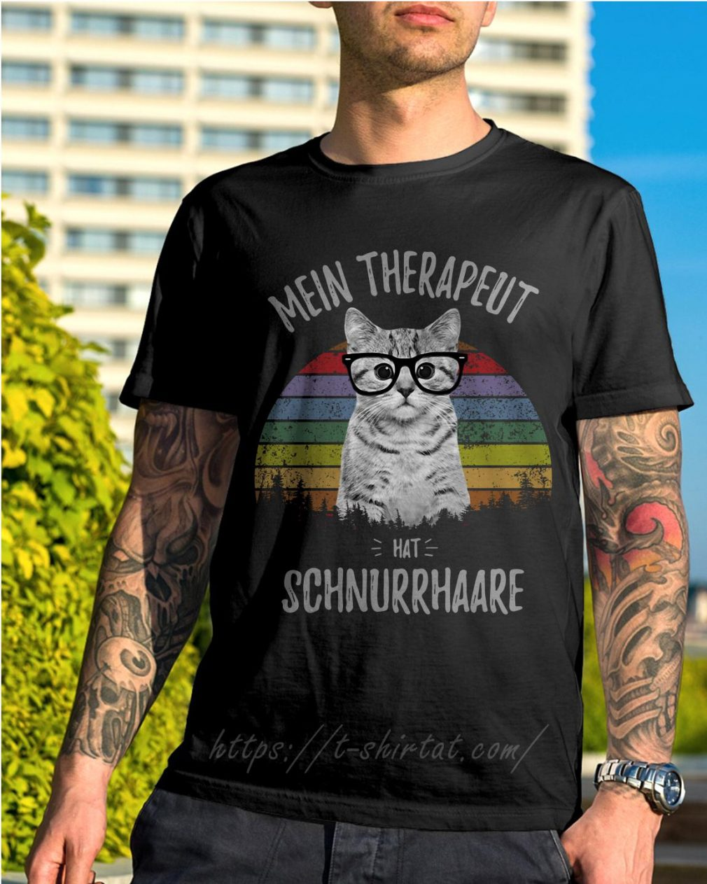 Cat mein therapeut hat schnurrhaare retro vintage shirt