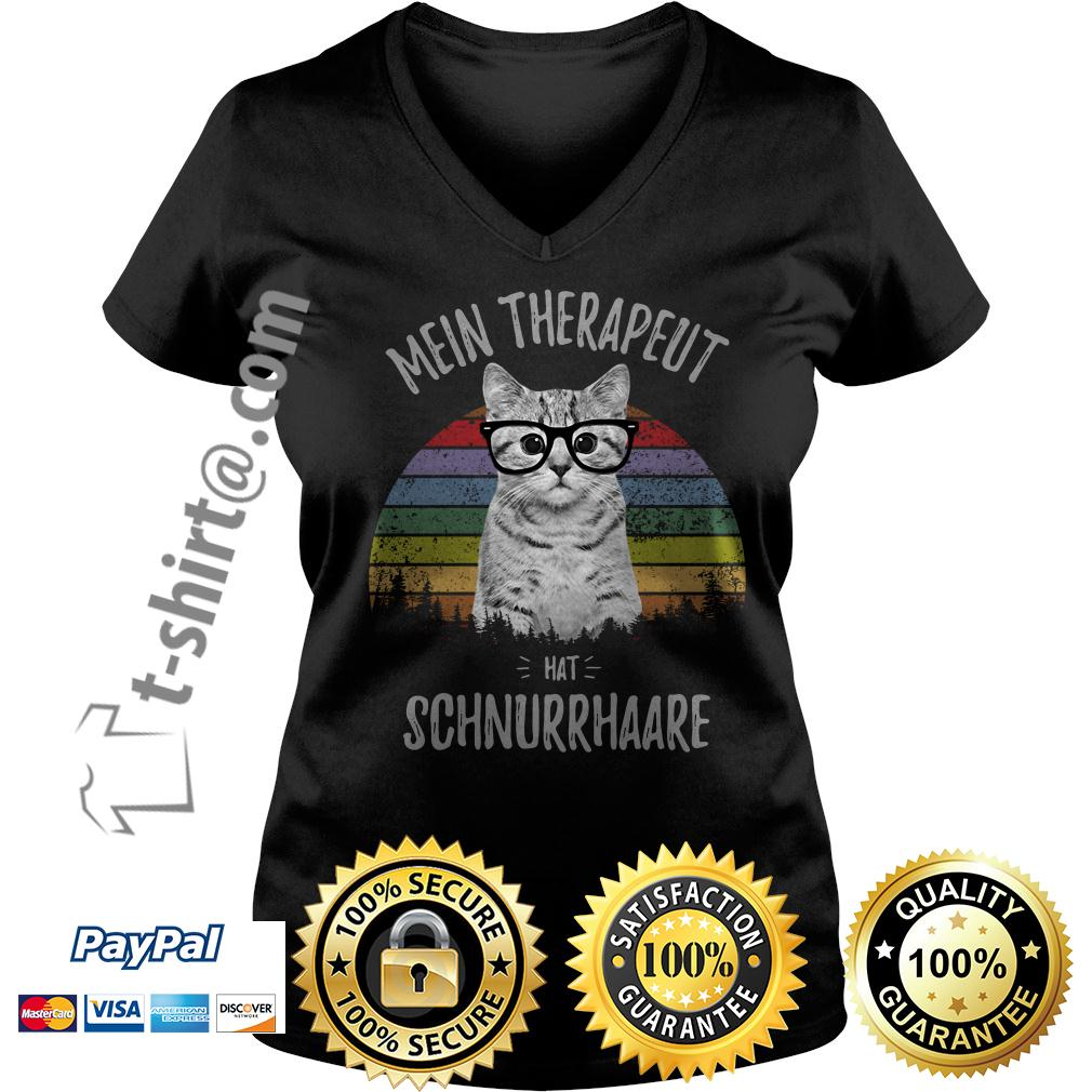 Cat mein therapeut hat schnurrhaare retro vintage V-neck T-shirt