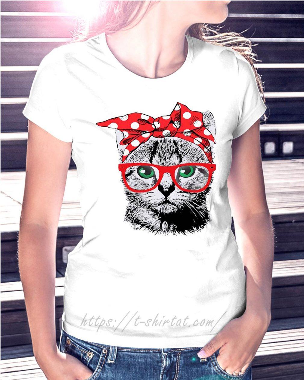 Cat mom bow head scarf Ladies tee