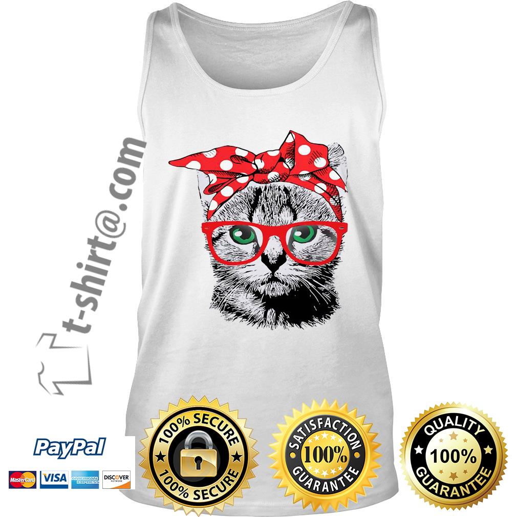 Cat mom bow head scarf Tank top