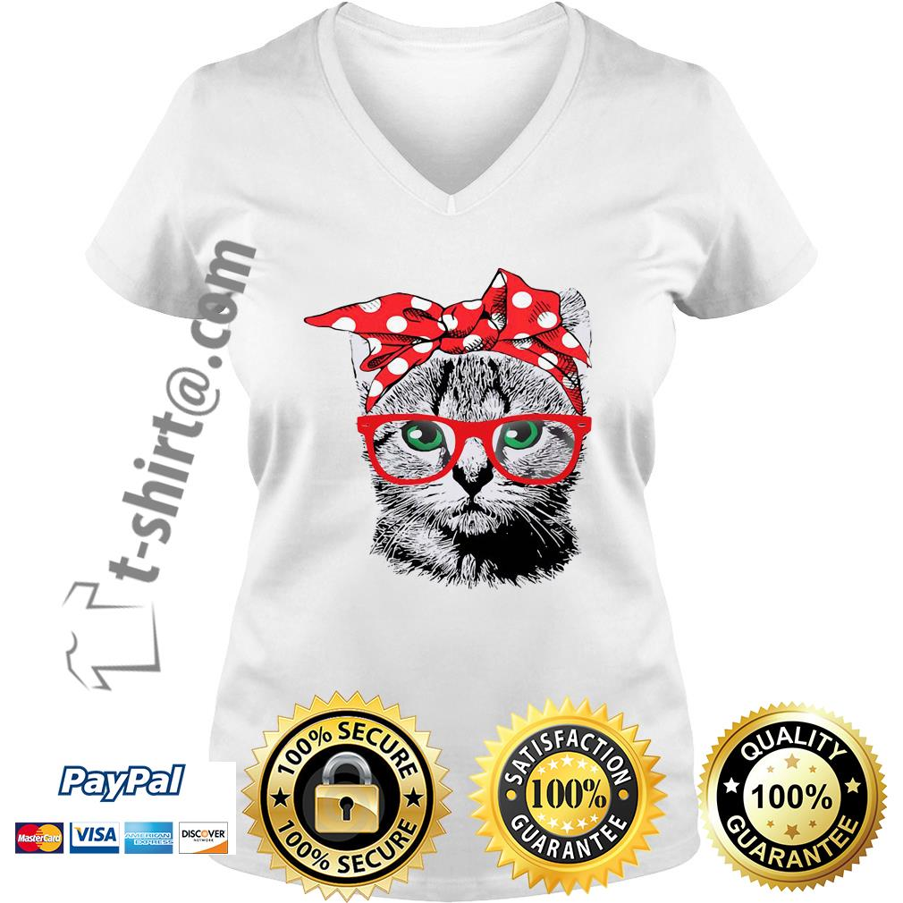 Cat mom bow head scarf V-neck t-shirt